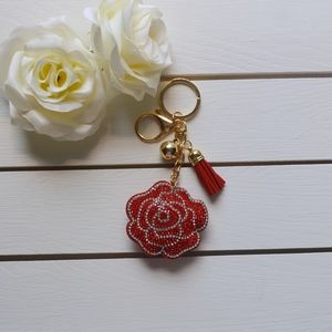 Accessories - Cute, Glittery Red Rose Keychain/Purse Charm